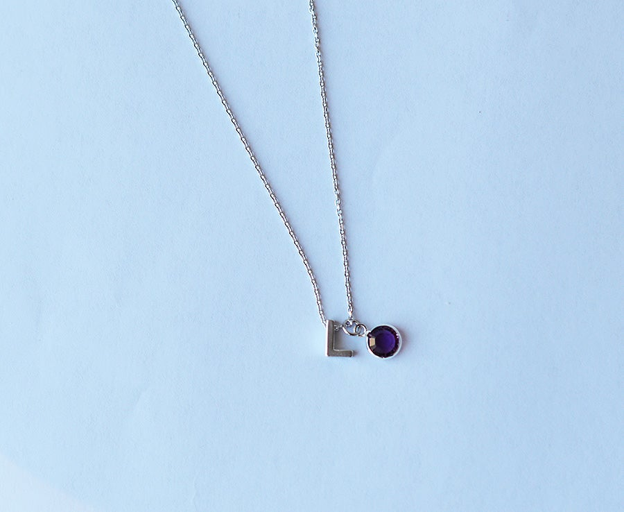 Image of Birthstone Initial Necklace