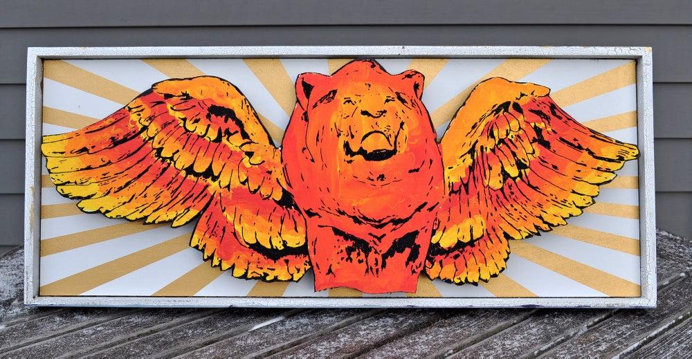Image of Flying Lion King Framed Wood Folk Art Sculpture