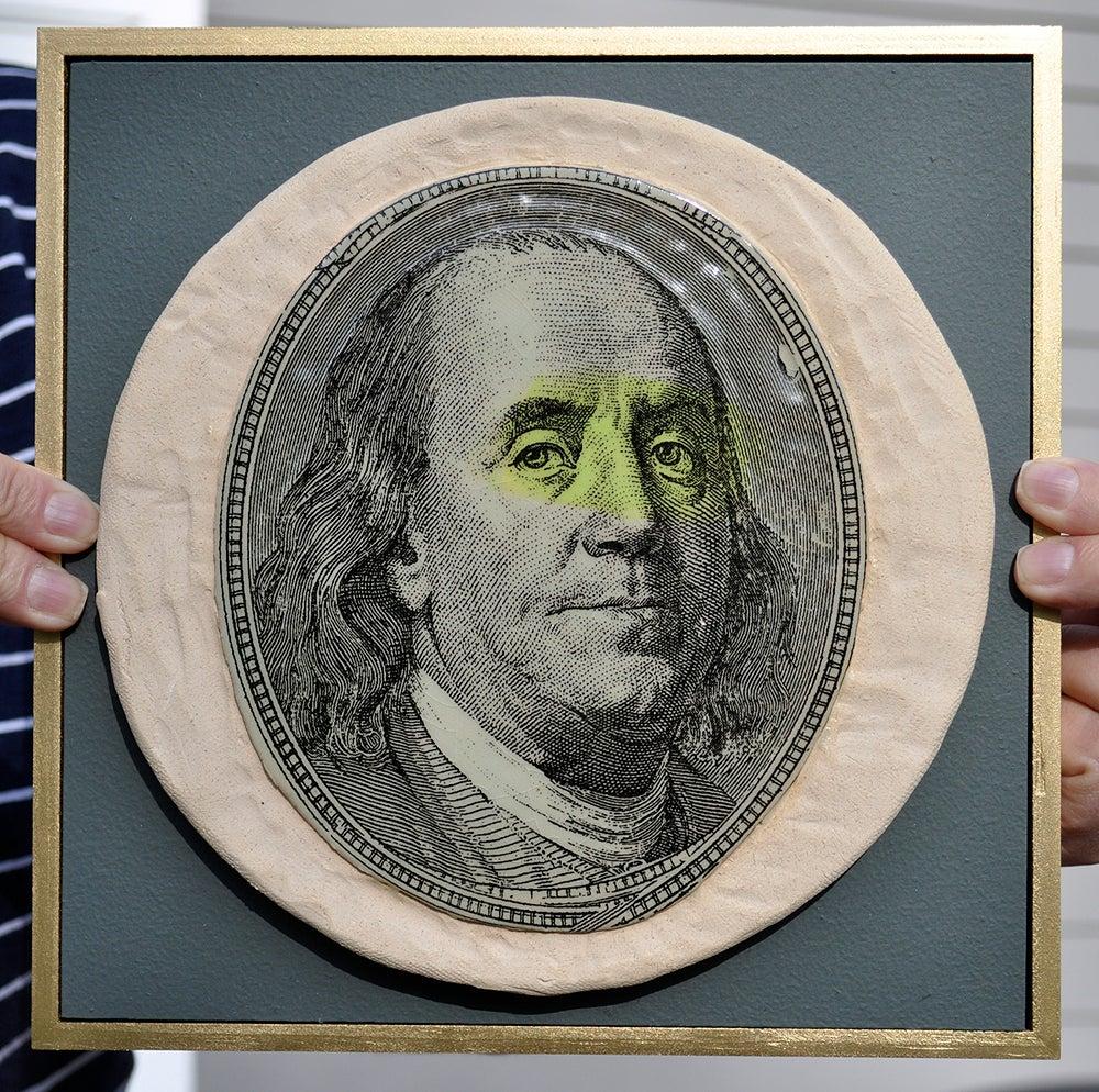 Image of Handmade Stoneware Ceramic Tile - Money Magnet