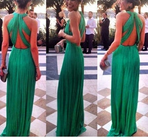 Image of Sexy green backless dress