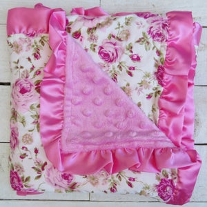 Image of Floral & Pink Minky Baby Blanket with Pink Satin Ruffles