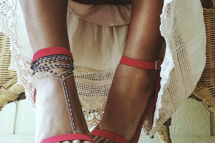 Image of Multi-Strand Lapis Foot Chain.