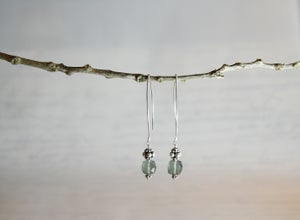 Image of Moss Aquamarine Cube Earrings