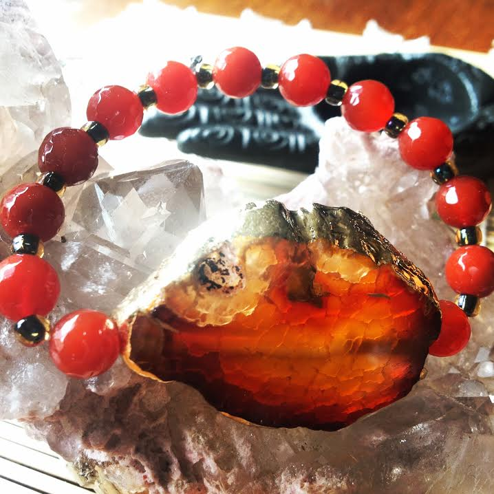 Image of Rebalancing Gold Foiled Agate and Calcite/Carnelian Bracelet