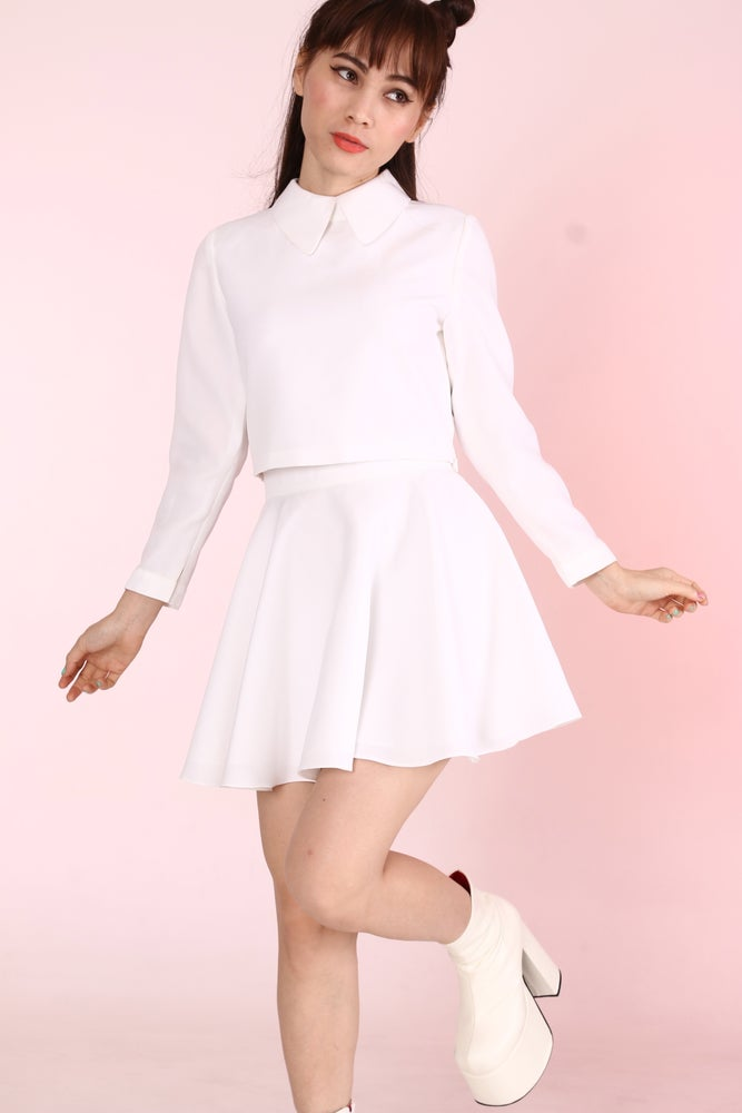 Image of Made To Order - All White Long Sleeved Top + Skirt