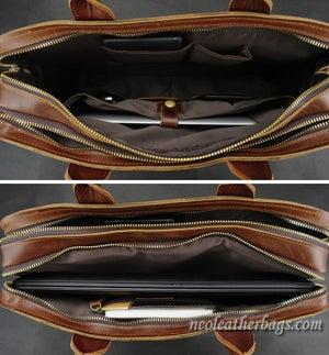 Image of Handmade Vintage Leather Briefcase / Messenger Bag / Laptop Bag in Old Reddish Brown (n16)