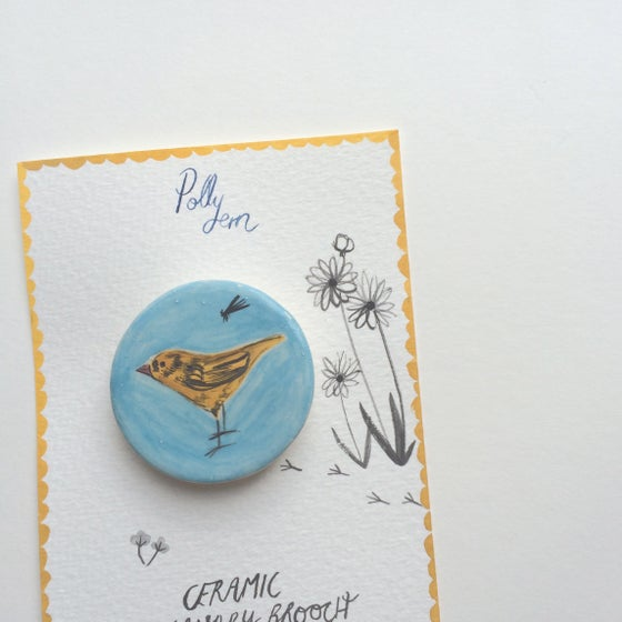 Image of ceramic canary brooch