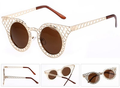 Image of Gold Hollow Grid Sunglasses