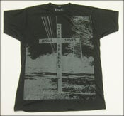 "Image of MJL ""Jesus Saves Satan Spends"" Heather Charcoal T-Shirt"