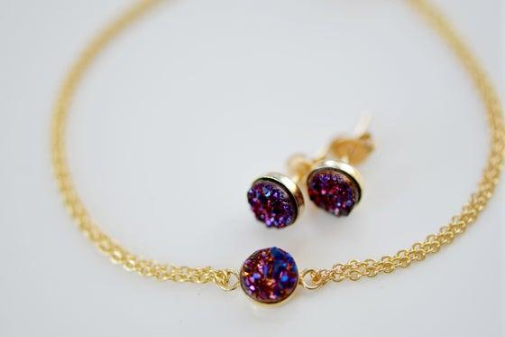 Image of Sparkling Plum Druzy Earring & Bracelet Set
