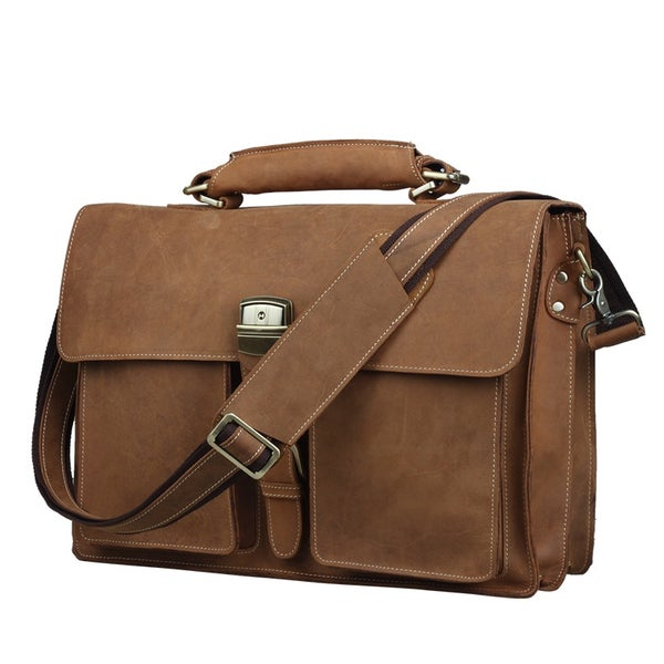 "Image of Men's Handmade Vintage Leather Briefcase / Messenger / 14"" 15"" Laptop 15"" MacBook Bag (n47-3)"