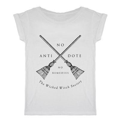Image of NO ANTIDOTE white raw t-shirt