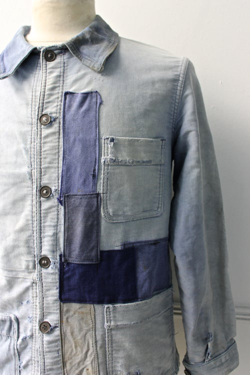Image of 1930'S FRENCH BLUE MOLESKIN WORK JACKET FADED & PATCHED