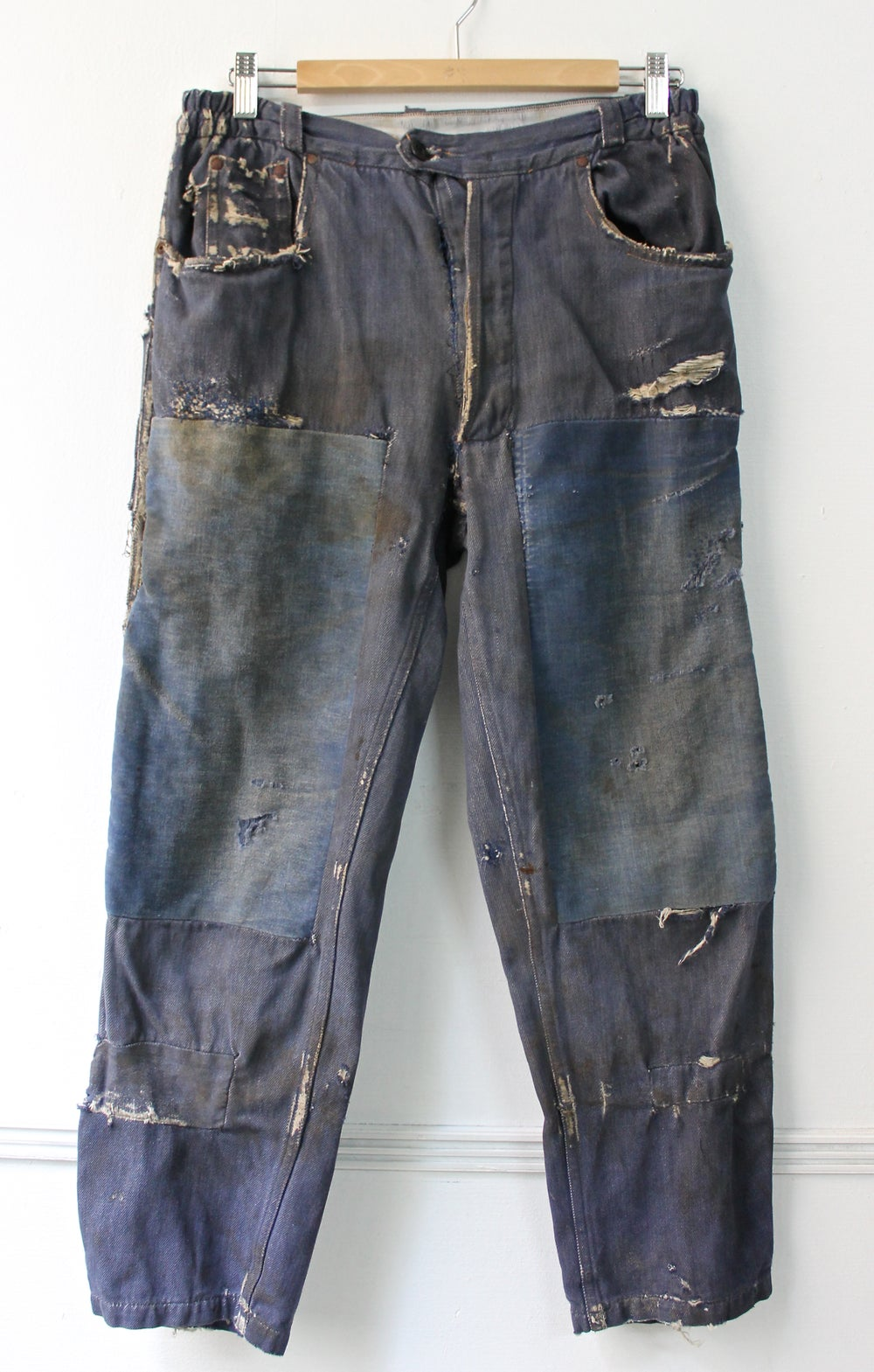 Image of 1960's FRENCH DENIM PANTS FADED & MOLESKIN PATCHED