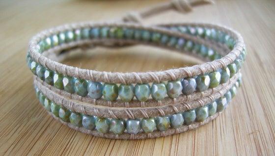 Image of Natural Biege Cotton Double Wrap Bracelet