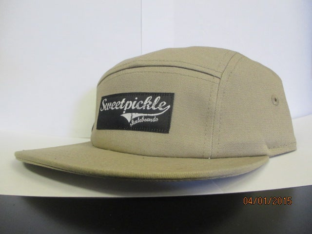 Image of 5 panel (tan) sweetpickle skateboard logo