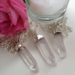 Image of Silver Dipped Clear Quartz Necklace