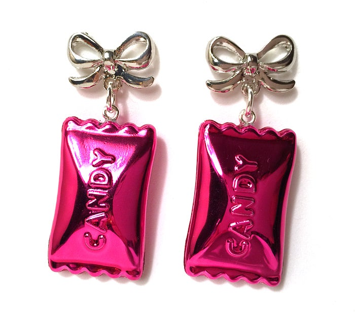 Image of Candy Pop earrings ~ Wrapped Hot Pink