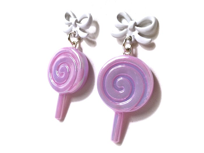 Image of Candy Pop earrings ~ Lavender Lolly