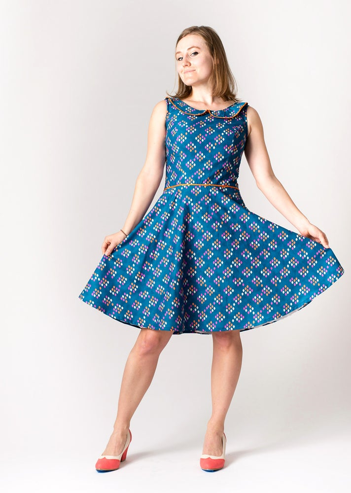 Image of COCO PARTY DRESS: Teal/Orange Pipping