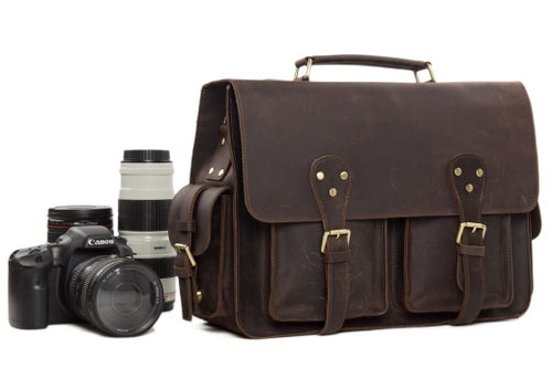 Image of Vintage Genuine Leather DSLR Camera Bag Leather Briefcase SLR Camera Bag 7145