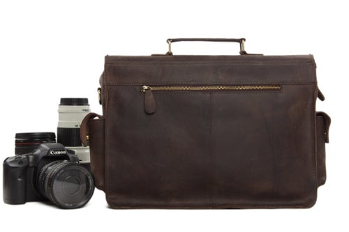 Image of Genuine Leather DSLR Camera Bag Leather Briefcase Leather Camera Bag 7200