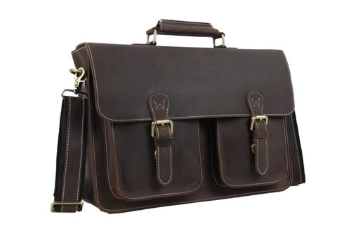 Image of Vintage Genuine Leather Briefcase Messenger Bag Laptop Bag 6922