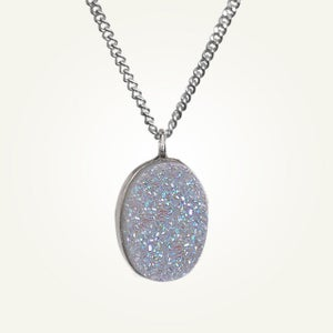Image of Large Oval White Druzy Necklace, Sterling Silver