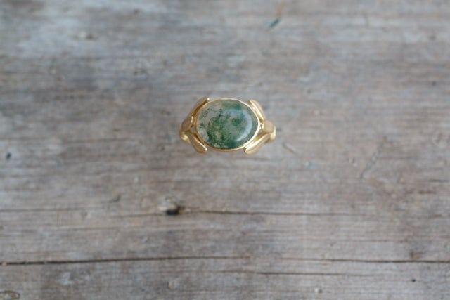 Image of Mossy Agate Cabochon Leaf Hold Setting