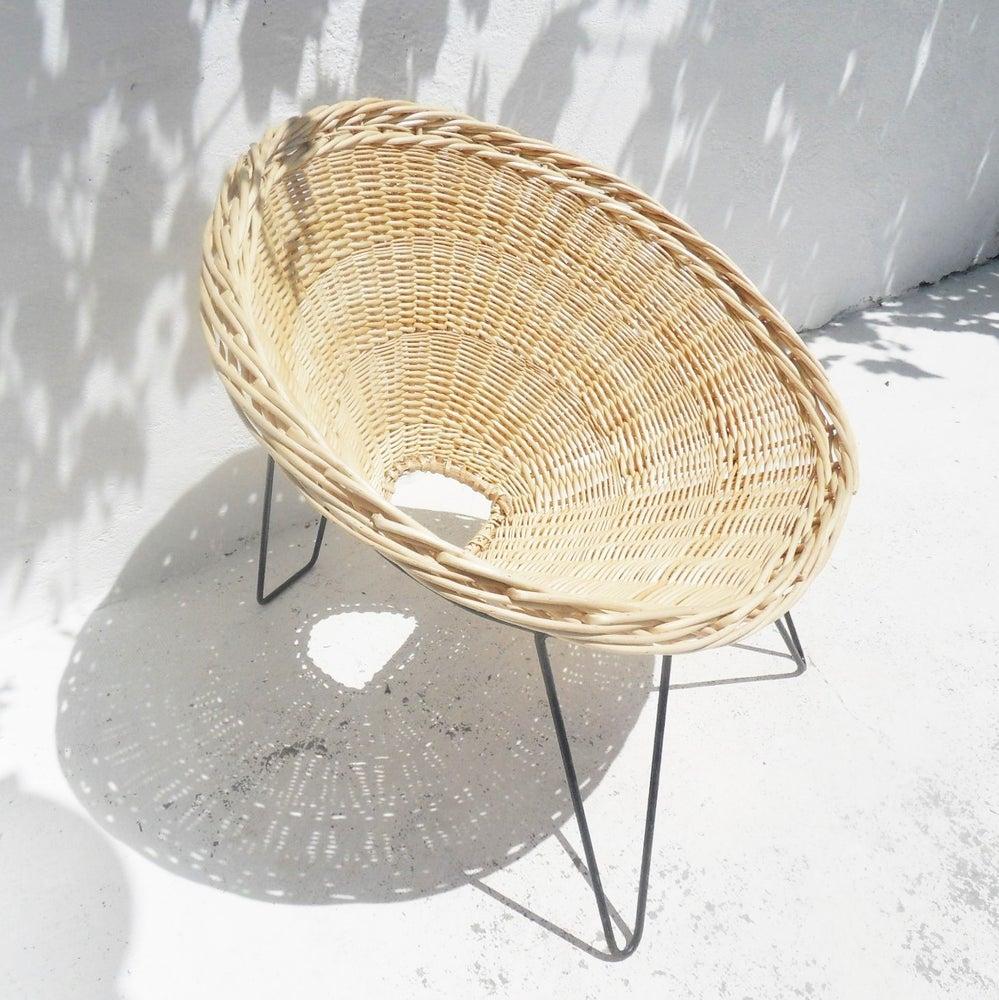 Image of Fauteuil osier design années 50