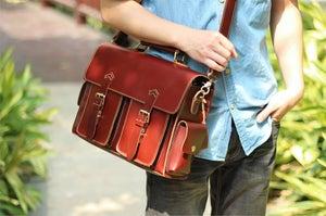 "Image of Handmade Leather Messenger Satchel / Briefcase / 13"" MacBook or 13"" Laptop Bag (n23-4)"