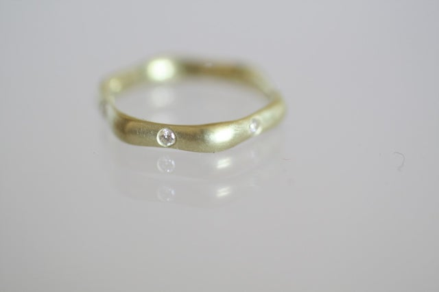 Image of Hexagon ring with diamonds