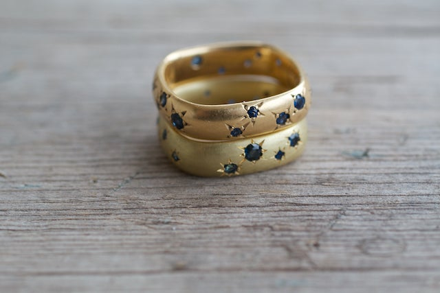 Image of Square Ring Star Set Sapphires