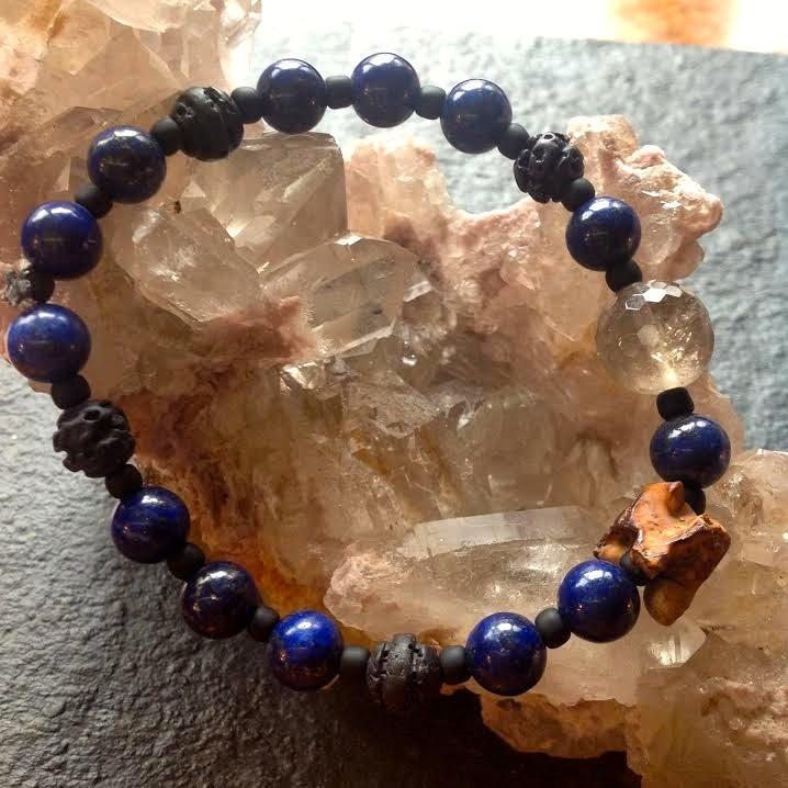 Image of Rising of the Kundalini Lapis Lazuli, Snake Vertabrae, Agate, Volcanic Rock Bracelet