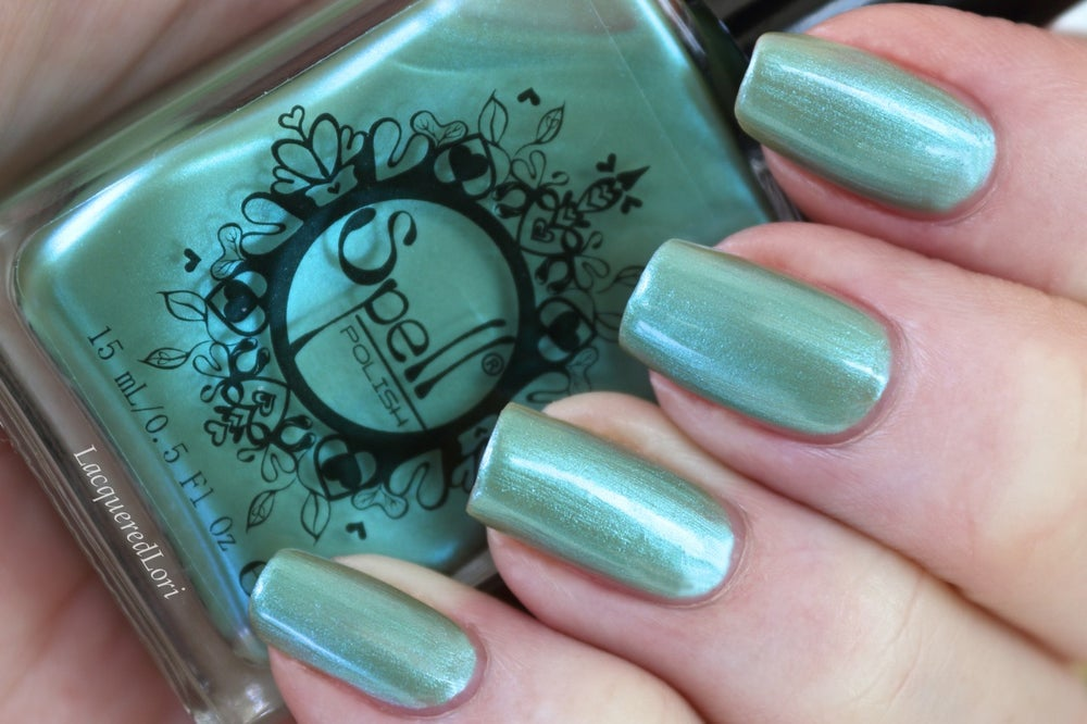 "Image of ~Lovely Bunny~ green-blue duochrome nail polish ""Charlie Loves Bella"" Spell Polish!"