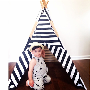 Image of All black and white striped teepee
