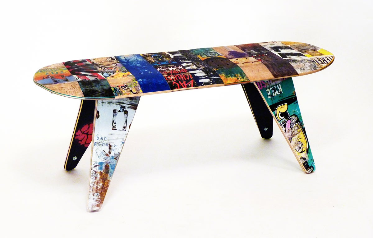 skateboard bench seating recycled skateboard furniture