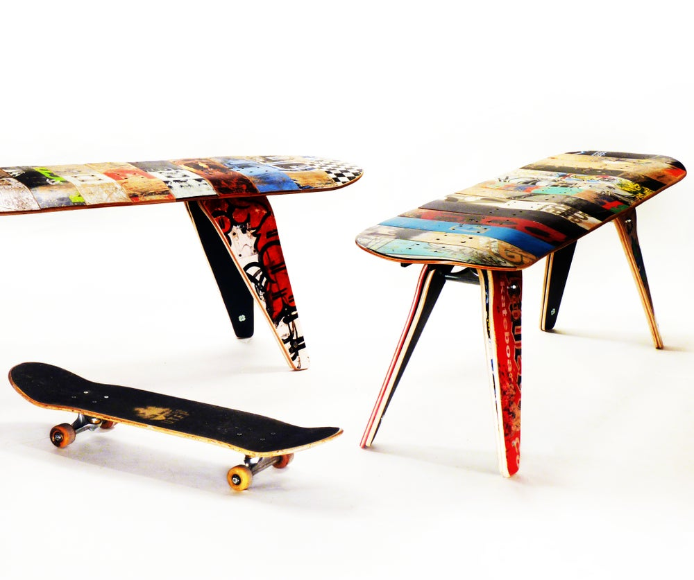 """Image of 60"""" Three Seater - Recycled Skateboard Bench"""