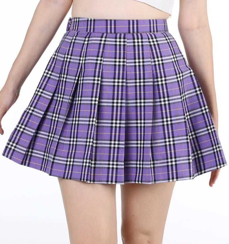 Image of Made To Order - As If Pleated Skirt in Purple Tartan