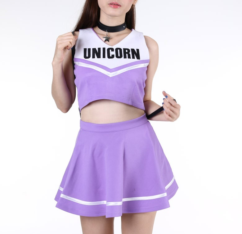 Image of Made To Order - Team Unicorn Cheerleading Set In purple