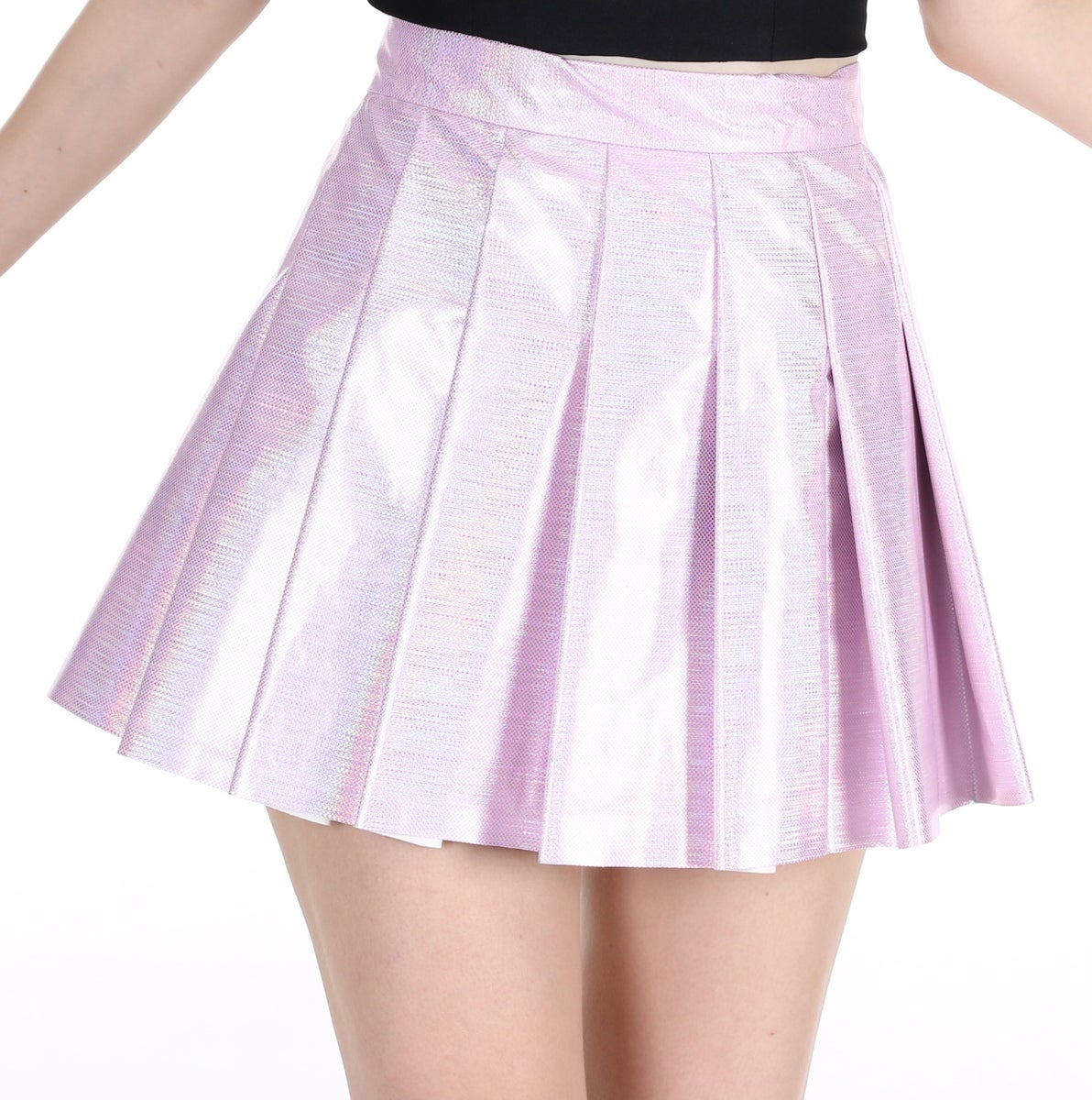 Glitters For Dinner Pink Hologram Pleated Tennis
