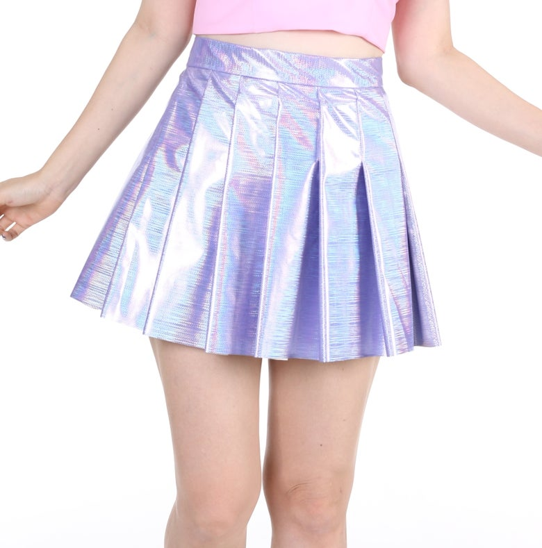 Image of Made To Order - Purple Hologram Pleated Skirt