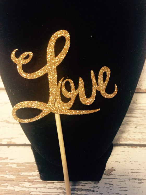Image of Love gold glitter topper