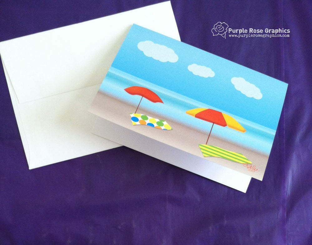 Image of Beach Scene Notecard