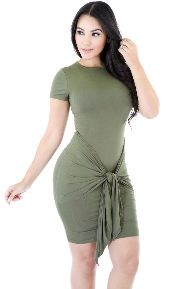 Image of Olive Knot Bodycon Dress
