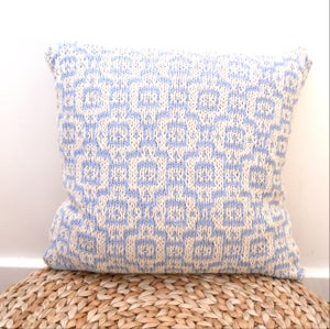 """Image of Cream & blue mosaic tiled cotton cushion cover , hand knit 18"""" x 18"""" with zip fastening"""