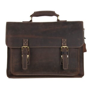 "Image of Vintage Handmade Antique Leather Briefcase Messenger 13"" 15"" MacBook 13"" 14"" 15"" Laptop Bag (n29)"