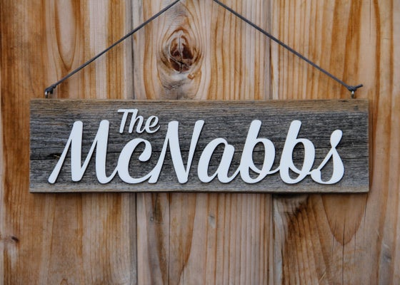 Image of Personalized Hanging Rustic Barnwood Name Sign