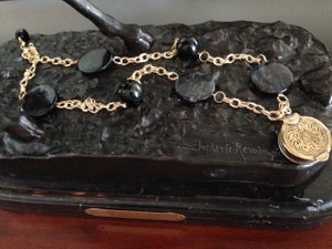 Image of Rainbow obsidian, jet, and antique brass box set