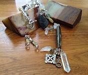 Image of Antique Bakelight cylinder and quarts necklace, bracelet, earring set